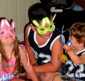 Madi, Austin and Tyler, Nana Martha's bunnies, er grandchildren!