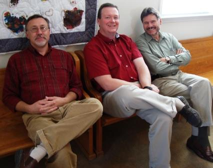 I called these guys the Three Stooges. The one on the left is our friend Tommy. The one in the middle is our preacher, Jason, who wanted to be Curley, and the one on the end is my husband!