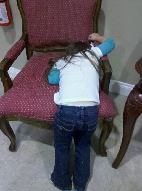 This Madi taking a nap standing up!