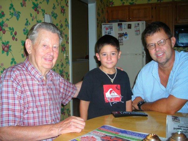 Grandpa Glenn (far right) with his dad and grandson Austin