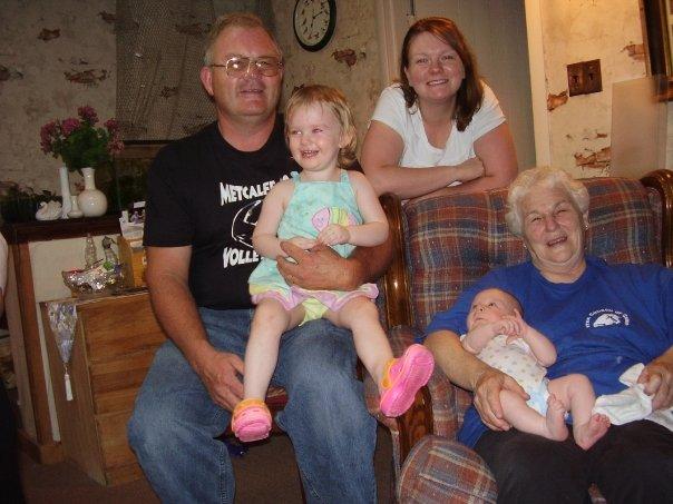 Grandpa Craig, Great-Grandma Ruth, Mom Laura with Emma and Westin