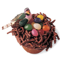 These are made with chow mein noodles dipped in chocolate. Add jelly beans and a plastic bird and you have a nest!