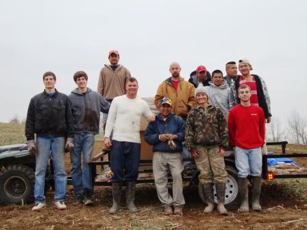 This was most of the crew the last day we planted. I almost didn't recognize my daughter...camos? Really?
