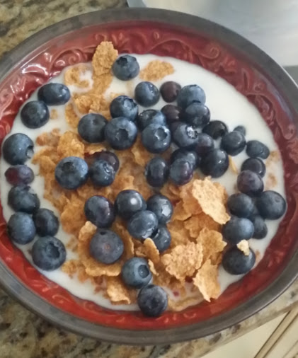 blueberries on cereal