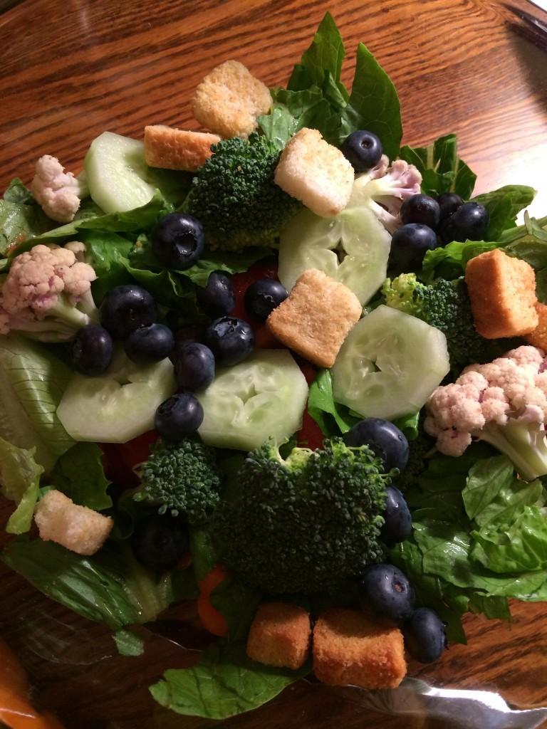blueberries on salad