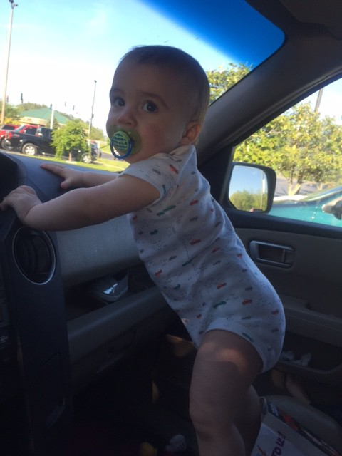 grandson in my car
