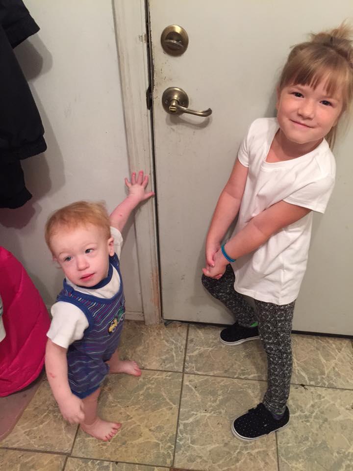 Patricia's grandchildren getting ready for school.