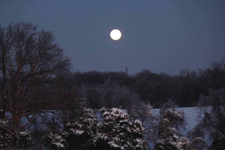 full moon over snow